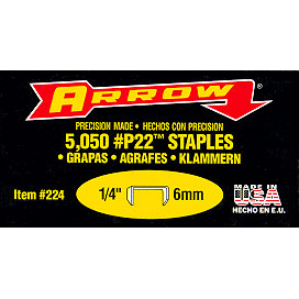 "Arrow P22 Heavy Duty Staples 5/16"" - Pack of 20"